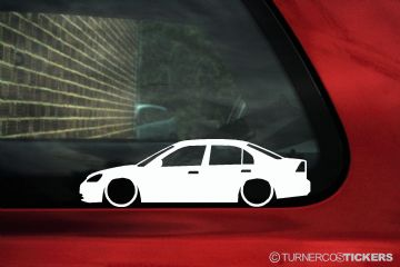 2x LOW Honda Civic Sedan Si (7th Gen) TX ES / EN2 ,ES1 vtec silhouette outline stickers, decals (1)